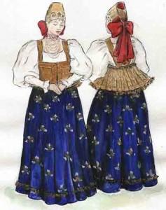 costume de jeune fille, région de Nijniy Novgorod, village Bezvodnoe extrait du travail de la fin d'études Baklanova Natalia, Institut du Textile, 2005